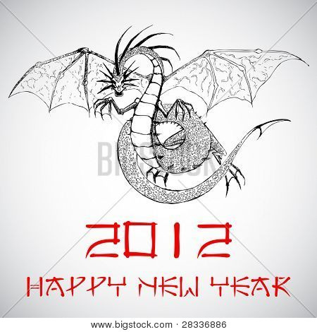 illustration of dragon on Chinese new year card