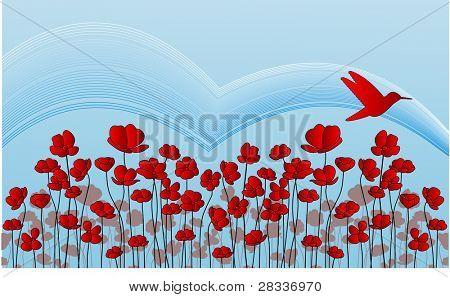 flower  field and bird