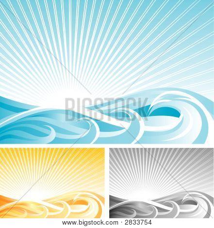 Fondo abstracto de onda, Vector archivo y tres colores diferentes