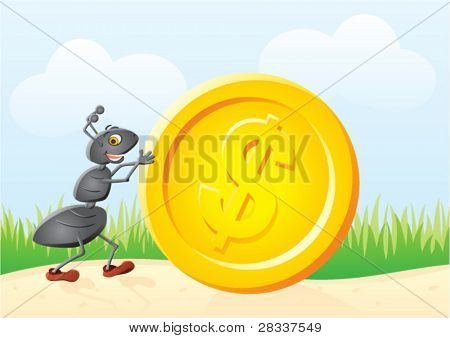 Small ant rolling big gold dollar coin