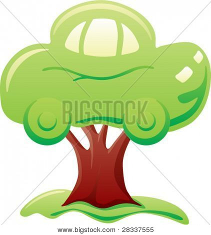 Abstract green car on tree symbolizes biofuel