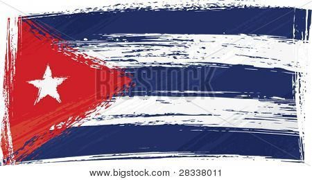 Cuba national flag created in grunge style
