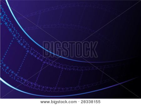 Cinema theme with film on dark blue background