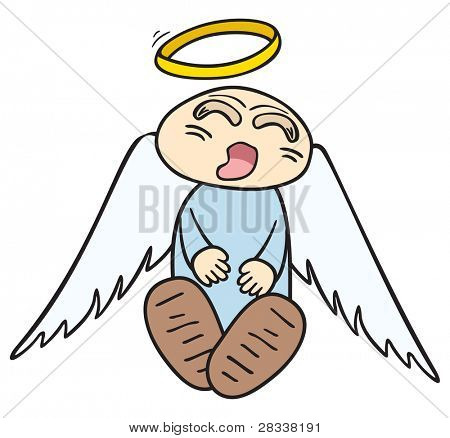 Sleeping little angel with halo over head