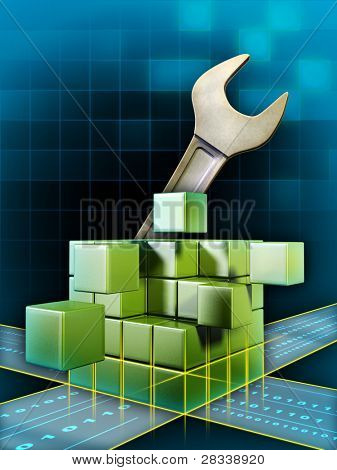 Data cube with a giant wrench used to fix database, registry or other digital information. Digital illustration