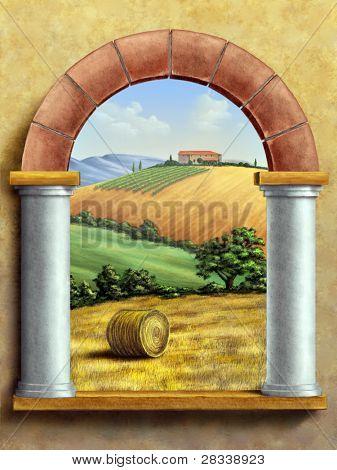 Beautiful tuscan landscape seen through a window. Hand painted digital illustration.