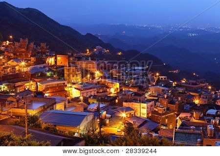 chiu fen village at night, in Taiwan