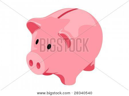 Vector Piggy bank on white background