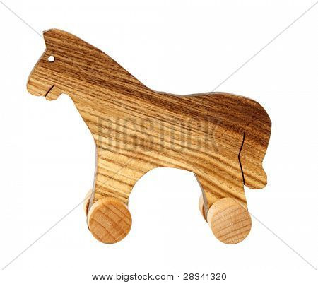 Wooden toy horse with wheels