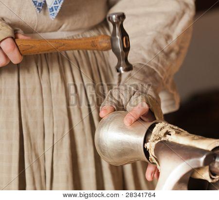 Lady Hammering Silver Mug