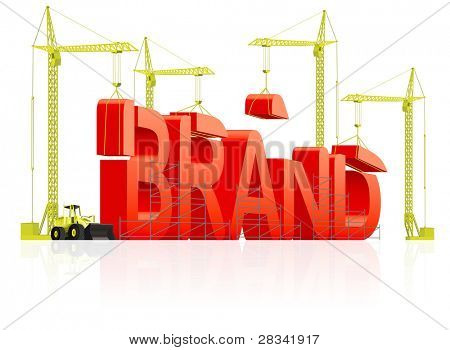 Brand development or creation of strong red product name marketing quality label trademark branding identity building word by cranes concept for market strategy company name