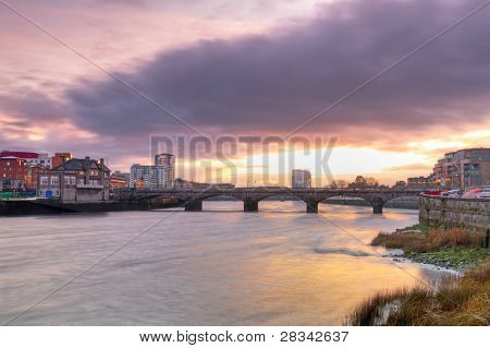 Limerick city scenery at sunset, Ireland