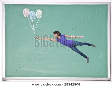 Woman Floating With Chalk Balloons