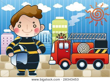 Smiling Young Fireman and Fires in a high-rise building on blue sky background