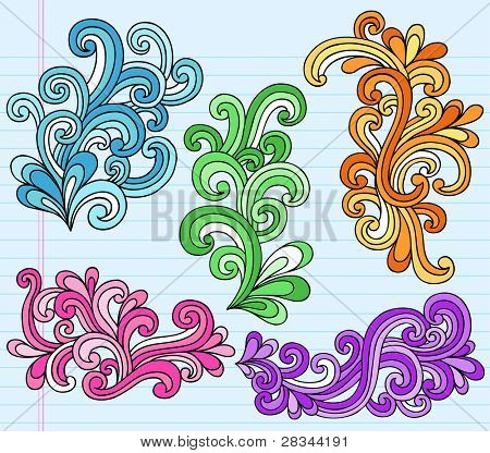 Psychedelic Notebook Doodle Swirly Vector Illustration Design Elements