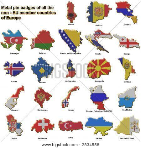 Non Eu European Countries Metal Badges