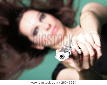 Sexy Young Woman Long Hair - Gun
