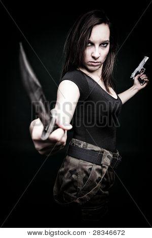 Sexy Young Woman Long Hair - Gun Knife