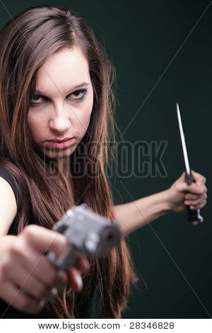 Sexy Young Woman Long Hair - Gun Knife