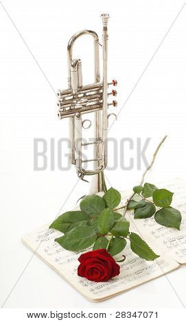 Red Rose And Old Notes Sheet Music Trumpet