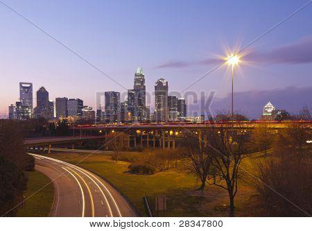 City of Charlotte, NC at dusk