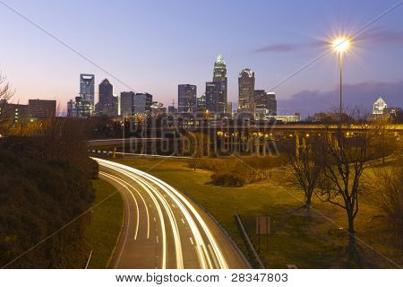 City of Charlotte, NC at dusk