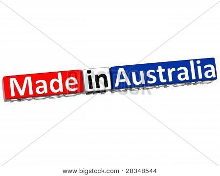 3D Made In Australia Over White Background