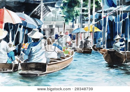 Original Hand Draw, Floating Market