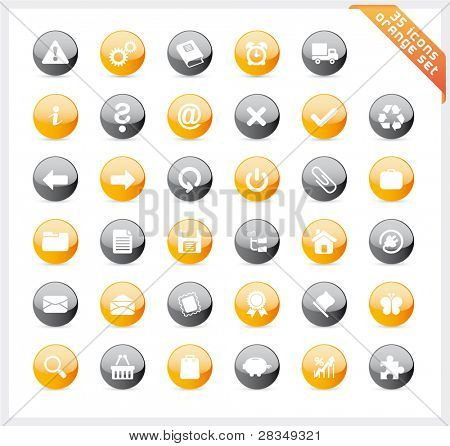 Orange set of 35 shiny icons on round button