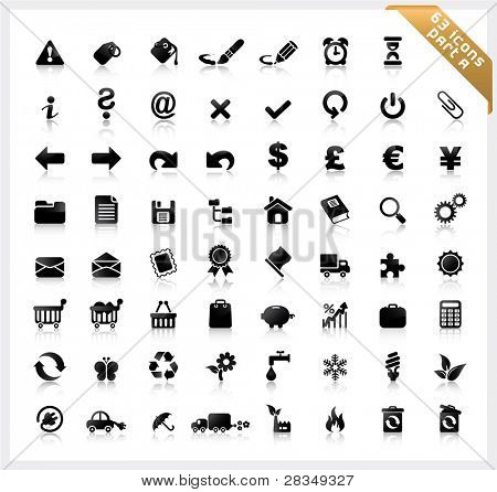 Set of 63 shiny icons with reflections - part A