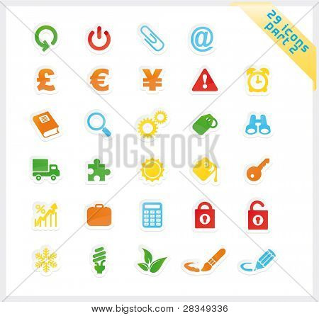 Colorful set of 29 sticker icons - part 2
