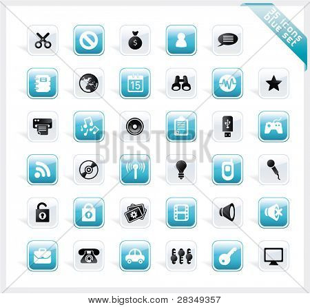 Blue set of 35 shiny icons on square button