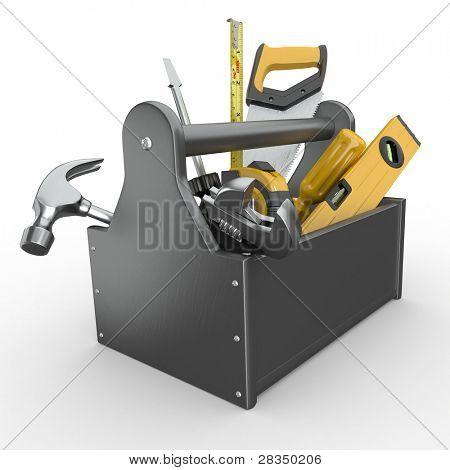 Caja de herramientas con herramientas. Skrewdriver, martillo, serrucho y llave. 3D