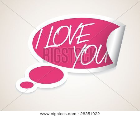 Vector I Love You speech bubble as sticker / label with white border