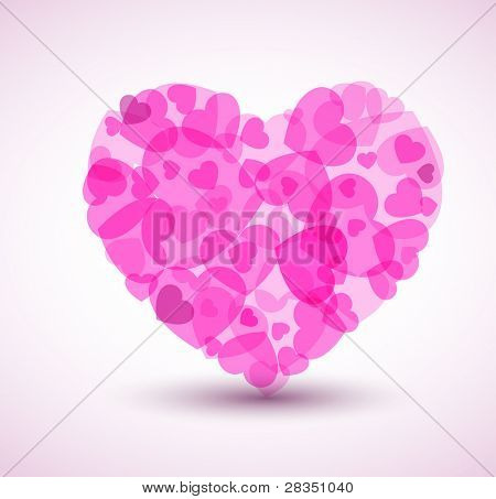 Vector Big heart made from smaller hearts - Valentines card