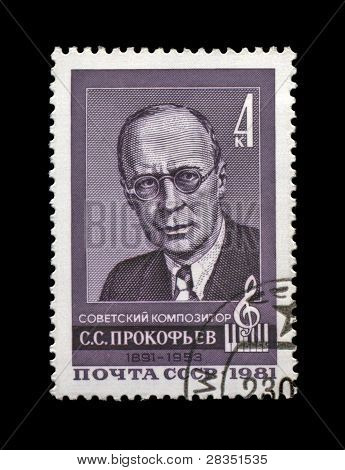 Ussr-Circa 1981:Cancelled Stamp Printed In Ussr, Shows Russian, Soviet Composer Serge Prokofiev