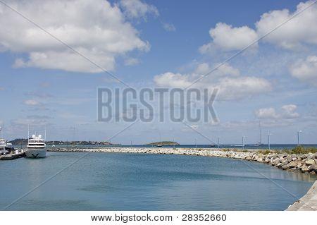 Long Curving Seawall At Marina