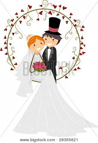 Illustration of a Bride and Groom Posing Together