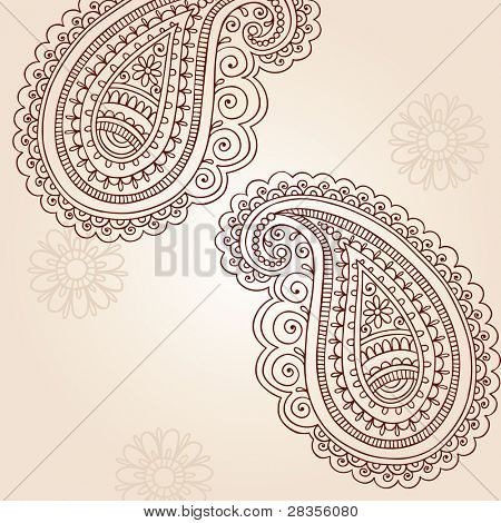 Henna Mehndi Paisley Doodles Abstract Vector Illustration Design Elements