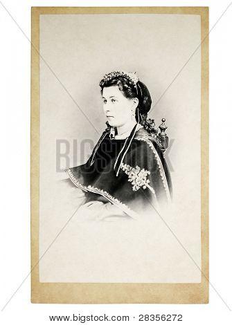 cartão com um velho retrato de uma mulher