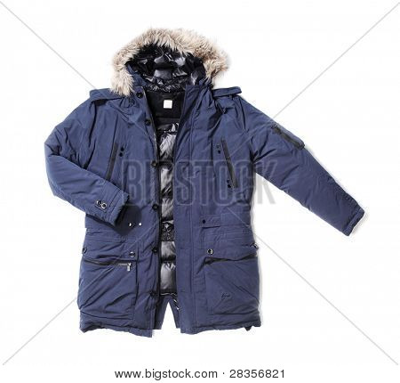 Men's blue down lined winter parka isolated on white with natural shadows.