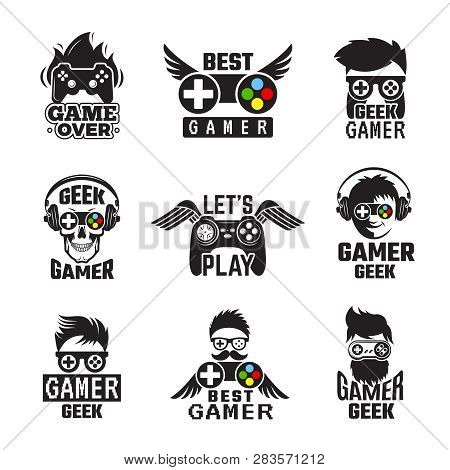 poster of Video Game Badges. Joystick Console Controller For Gaming Geek Vector Labels. Joystick For Video Gam