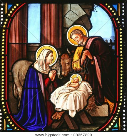 Nativity scene, stained glass, Church of St. Catherine, Bethlehem