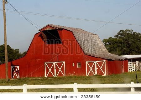 Big red and white barn