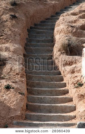 Stone stairs in residential caves of troglodyte in Matmata, Tunisia, Africa