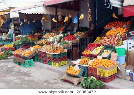 Fresh fruits and vegetables on a traditional market, El-Jem, Tunisia