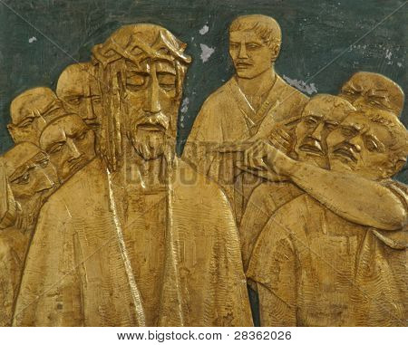 1st Station of the Cross, Jesus is condemned to death