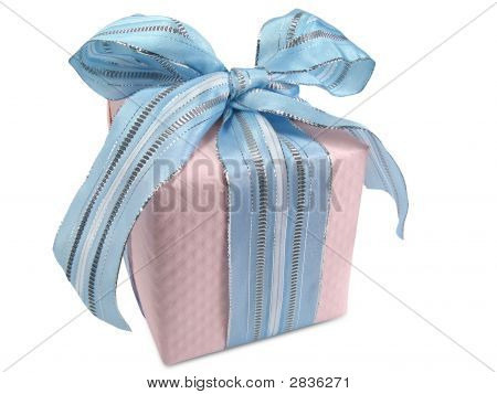 Pink Gift Box With Blue Ribbon