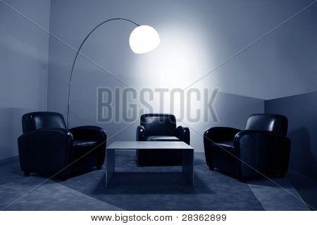 Waiting room with elegant modern black and white design