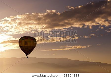 Hot air balloon with sky as copy space